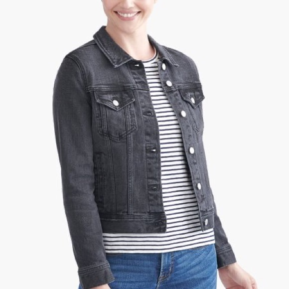 J Crew Women's Black Denim Button Down Jacket